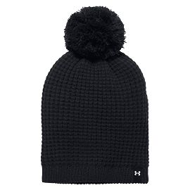 Шапка under armour Favorite Waffle Pom Beanie Black / Black / White
