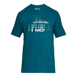 Футболка under armour Wordmark Glitch SS Techno Teal / / Techno Teal