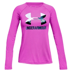 Футболка с длинным рукавом under armour Big Logo Long Sleeve Fluo Fuchsia  White  Techno Teal
