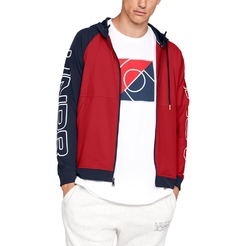 Толстовка under armour UA Baseline FZ Woven Jacket Red  Midnight Navy  White